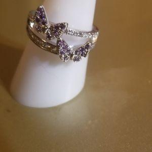 925 double butterfly light purple diamond ring